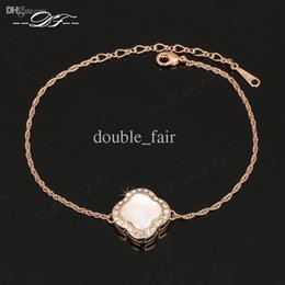 Wholesale Semi Precious Stone Chains - Semi-precious Stone Flower 18K Rose Gold Plated Imitation Gemstone Bracelet Genuine Imitation Crystals For Women & Girls Wholesale DFH183