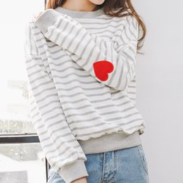 Wholesale Kawaii Heart - winter hoodie 2017 korean new kawaii autumn sport harajuku sweatshirt women pink lovely heart shaped embroidered hoodies women