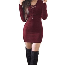 Wholesale Winter Tops Wholesale Ladies Dresses - Wholesale- Hot Winter Sexy Women Ladies Sweaters Dress Long Sleeve V-Neck Bandage Knitted Bodycon Stretch Party Top Robe Vestidos Femininos