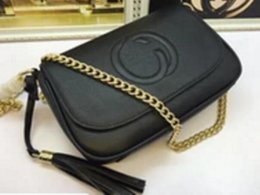 Wholesale Leather Bags Collection - Collection Fashion Women Genuine Leather chain bag mini chain real leather saddle bag with tassel Chain Shoulder Bags 336752