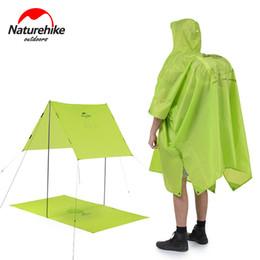 Wholesale Mm Backpacks - Wholesale- Naturehike 3 color Single Person Sunshade Raincoat Backpack 3 in 1 Portable Hiking poncho Sun shelter Poncho MINI Tarp Camp Mat