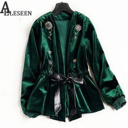 Wholesale Luxury Black Velvet Jacket - Wholesale- UK Winter New Style Beading Luxury Cardigan Jackets 2017 Long Sleeve Green   Black Flower Velvet Beaded Jacket Women