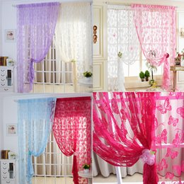 Wholesale Sheer Curtains Tassels - 1Pc Door Curtain Window Butterfly Pattern Tassel String Room Divider Scarf Sheer Curtains E00638