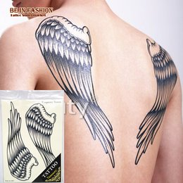 Wholesale Large Wings Tattoo - Wholesale- 1 pc large color wing Pirate cross designs Temporary tattoo stickers body back painting drawings Waterproof cool men Body Art-A