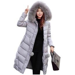 Wholesale Winter Jacket Fur Wadded - 2017 new thicken women down parka jacket coat winter warm long slim faux fur collar wadded outerwear hooded coat kp0754