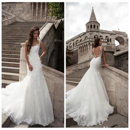 Wholesale Online Arabic - 2017 Modest See Through Back Mermaid Wedding Dresses Lace Appliques Chapel Train Slim Bridal Gowns Custom Online Formal Arabic Vestidos