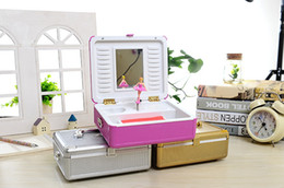 Wholesale Wood Suitcase - free shippping music box hot newest Trolley suitcase pink music box music box rotating dancing girl jewelry box creative birthday gift