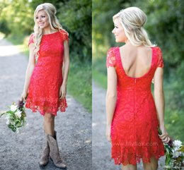 Wholesale Mini Dresses For Cheap - Bridesmaid Dresses 2017 New Cheap Country Short For Weddings Jewel Neck Red Full Lace A Line Plus Size Backless Formal Maid of Honor Gowns