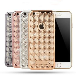 Wholesale Diamond Iphone 5s Cases - Bling Agate Set Diamond Plating Soft TPU Rhinestone case For Apple iPhone 7 7plus 6 6s Plus 5 5s Shockproof back cover