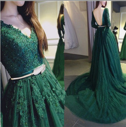 Wholesale Host Club - 2016 Emerald Green Long Sleeves Dresses Evening Wear V Neck Backless Lace Applique Sweep Train Arabic Muslim Prom Party Gown Host Pageant