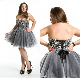 Wholesale Pearls Cocktail Dresses - 2017 Custom Made A Line Tulle Gray Cocktail Dresses Sweetheart Pearls Bodice Sexy Backless Lace-Up Back Mini Homecoming Dresses