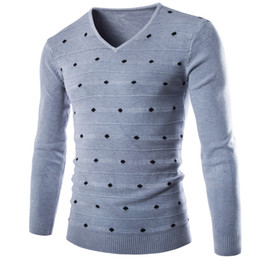 Wholesale Collar Dots Sweater - Wholesale-New Fall Thin Casual Men Pullover Sweater V-neck Collar Little Dot Printed