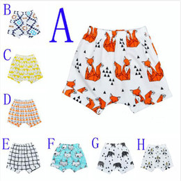 Wholesale Baby Clothes Panda - Retail 2016 INS Summer Style Baby Harem Pants Fox Panda Brar Cartoon Pattern Kids Shorts Plaid Geometric Printed PP Pants Boys Girls Clothes
