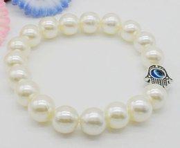 Wholesale Evil Eye Hamsa Beaded Bracelet - Free Ship 20pcs imitation pearl NEW Hamsa Hand Evil Eye String Bracelets Lucky Charms bangle HOT