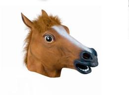 Wholesale Horsehead Masks - The Halloween Mask Animal Head Natural Environmental Latex Evade Glue Brown Horsehead Unicorns