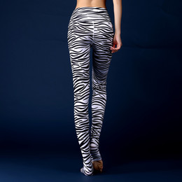 Wholesale Sexy Foot Wear - Zebra design gym pants Outdoor exercise foot tight Nice fitness training sport wear Beautiful sexy women trousers