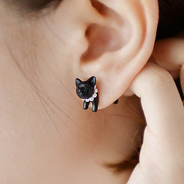 Wholesale Earring 3d - 3D Cute black cat piercing stud earrings for women girls and men pearl channel earring fashion jewelry