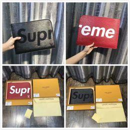 Wholesale Office Men Leather Bag - Supreme Hand Bag Genuine Leather Supremes File Bag Red Black Supreme Pack for Men Woman School College Office