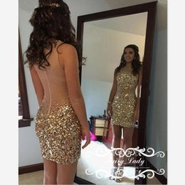 Wholesale Dresses Bling Knee Length - Bling Crystal Sheer Short Cocktail Dresses 2017 Major Beading Transparent Back Illusion Bodice Sheath Pageant Dress Prom Gowns