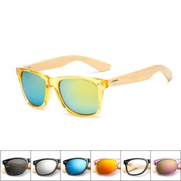 Wholesale Wood Sunglasses Wholesale - Bamboo Wood Frame Sunglasses for Men Women Classic Colored Film Hot Sale Eyeglasses Radiation Protection Vogue New Arrival 22 Colors