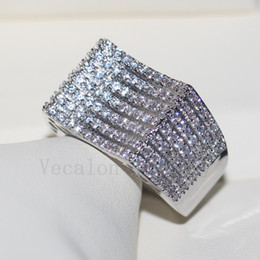 Wholesale Pave Diamond Engagement Ring - Vecalon Wholesale Luxury Jewelry ring Pave set 168pcs Cz diamond 925 Sterling Silver Engagement wedding Band ring for women Gift