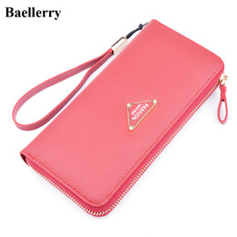 Wholesale Red Leather Checkbook Wallet - New Designer Leather Phone Wallets Women Long Zipper Red Coin Purses Female Clutch Wallets Money Bags With Card Holders
