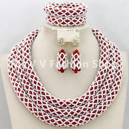 Wholesale Burgundy Crystal Earrings - african trade beads red white African Beads Jewelry Set Nigerian Wedding African Beads Crystal Bridal Jewelry Set Burgundy Beads