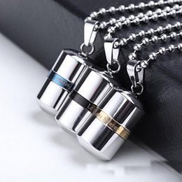 Wholesale Capsule Wholesaler - Memorial Love forever Jewelry High quality openable Stainless Steel Pill capsule Pendant Cremation Ash Urn Lockets Necklace Urns Jewelry