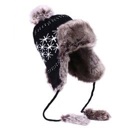 Wholesale Fur Ushanka - Wholesale- Bomber Hat Women Winter Russian Ushanka Wool Knit Pom Pom British Flag Trapper Aviator Hats Fox Fur Earflaps Snow Caps