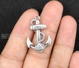 Wholesale Bronze Nautical - 40pcs-Antique Tibetan Silver Bronze Anchor Charms Pendant, Nautical Charm 29x19mm Best Gifts For Lovely Connector DIY Jewelry Making