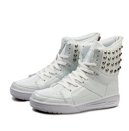 Wholesale Male Thighs - Summer autumn winter men's rivets High-top board shoes casual shoes tide male Korean version of the large size 39-44 men boots white boots