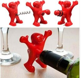 Wholesale Novelty Bottles - Red Happy Man Wine Bottle Novelty Opener Stopper Corkscrew Beer bottle opener Bottle Favors Bar Wedding Tools KKA3436