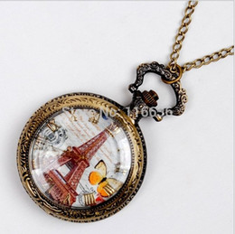 Wholesale Old Fashioned Necklace Watch - 100 pc Vintage Eiffel spring butterfly pocket watch Necklace new old fashion fashion woman unisex women