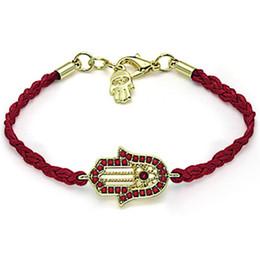 Wholesale good luck bracelets for women - 2016 Fatima Hamsa Good Luck Evil Eye Rope Bracelet Handmade Braided Sideway Hand Charm Bracelets For Women Girl Best Friends Jewelry
