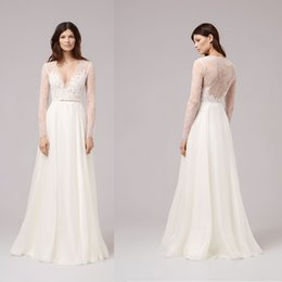 Wholesale Appliques Neck Designs - V Neck Long Sleeve Wedding Dress Illusion Lace Sheer Back 2017 New Design Bridal Gown Beach Chiffon A line