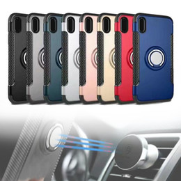 Wholesale Magnet Cell Phone Cases - For iPhone X 8 8P Case Hard Cover Shockproof TPU+PC Magnet Ring protector Cell Phone Protector with OPP Bag