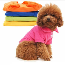 Wholesale dog t - Pet Fashion Series Dog autumn clothes polo knit shirts 5 sizes 4 colors red,green, yellow, blue and orange