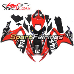 Wholesale Motorcycle Full Body - ABS Injection Fairings For Suzuki GSXR600 GSXR750 K6 06 07 2006 2007 ABS Plastics Motorcycle Full Fairing Kit Body Cowling Red Black 12