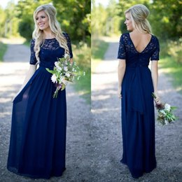 Wholesale Short Bridemaid Dresses Yellow - Country Bridemaid Dresses Royal Blue 2016 Bridesmaid Dress Long Sheer Lace Top Short Sleeves Full Length Maid of Honor Gowns for Weddings