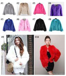 Wholesale Ladies Faux Fur Long Coats - 10 colors Womens Autumn Winter Faux Fox Fur Long Sleeve Thick Warm Coat Jacket Ladies Outwear Faux Fur Top coat Free Shipping WT86