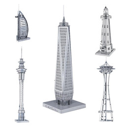 Wholesale Empire State Building 3d - 3D Metal Puzzle Mix-Lot Space Needle Center Empire State Building World Trade Center Tower of the Americas DIY 3D Metal Model Building Kits
