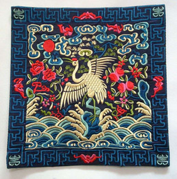 Wholesale Crane Cross Stitch - 27*27cm double sided crane embroidery patch on blue imitated silk with no adhesive with lining for closthes decoration DIY