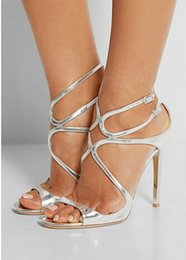 Wholesale women office cloth - Fashion Style Brand Sandals Lang High Heels Patent Leather Jimmis Strappy Sandals Women Summer Shoes Party Shoes Gladiator Sandals 34-42