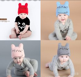 Wholesale Grass Paper Gift - INS Baby cartoon Caps Kitty Woolen Yarn Autumn Winter Beanies Knitted Girl Gifts Infant Hats Cute Rabbit Ears Hats 12 Colors LC645-1
