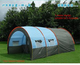 Wholesale Two Room Tents - Outdoor 5-6-8-10 Persons Family Camping Hiking Party Large Tents 1 Hall 2 Room Waterproof Tunnel Tent Event Tents Beach Tent