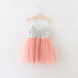 Wholesale Korean Style For Children - 2016 girls dress New Sequin Lace Princess Dresses For Kids Korean Fashion Children Party Dress Summer Girl Vest Dress 6198