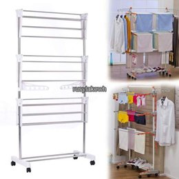 Wholesale Folding Clothing Racks - Steel Folding Laundry Clothes Drying Rack Organizer Dryer Hanger Free Standing