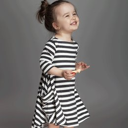Wholesale Girls Christmas Dresses Wholesale - INS dresses for baby girl 2017 Spring Fall black white striped loose dress toddler dress ig pockets long sleeve 100%cotton 1T 2T 3T 4T 5T