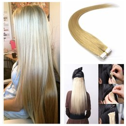 Wholesale Double Drawn Hair Extensions - Tape in Malaysian human hair extension 2.5g pcs 40pcs set Natural Color 1B Double Drawn Tape In Hair Extension With Thick Ends