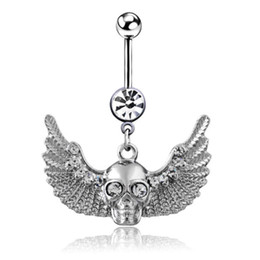 Wholesale Skull Wings Rings - free shipping 2016 vintage 10pcs lots Skull with wings rhinestone dangle navel belly button rings body piercing jewelry